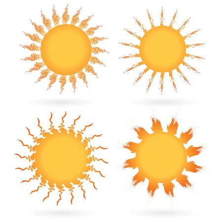 Set of abstract suns isolated on white, vector illustration. Stock Vector - 13127836