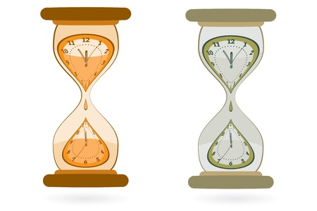 midnight hour: Abstract sand Hourglass with wall clocks inside as time passing metaphor