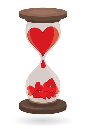 sand clock: Corazones rojos en el reloj de arena, como concepto de amor Vectores