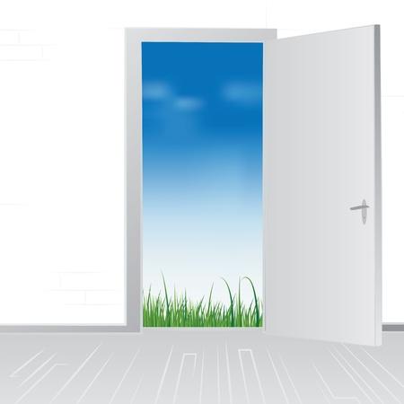 Open huis deur naar groene gras weide en blauwe hemel, vector illustratie.