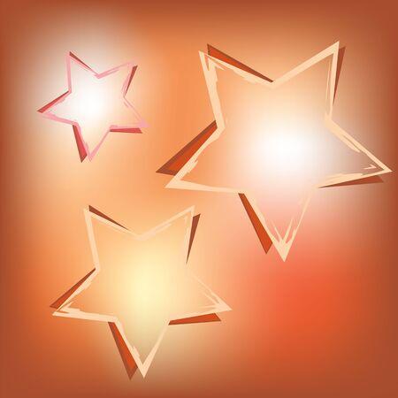 Three stars on shining background. Vector template illustration. Stock Vector - 13317165