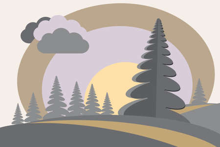 Fir-tree on hills sun clouds cartoon style  Vector