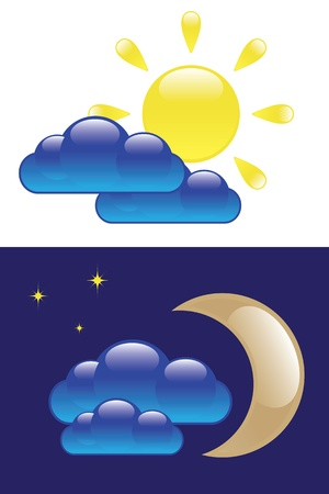 day forecast: Glossy sun cloud moon isolated on white and dark backgrounds. Day and Night symbol.