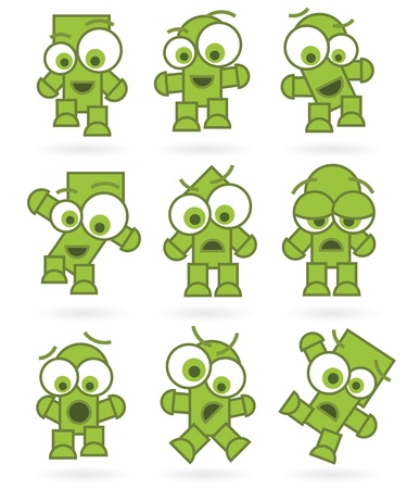 Cartoon Character Green Monsters or Robots Set with positive and negative emotions and poses isolated on white background, vector image.