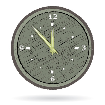 Abstract old wooden cracked wall clock isolated on white vector image. Stock Vector - 13499062