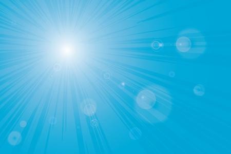 Sunburst blue sky flares background image.