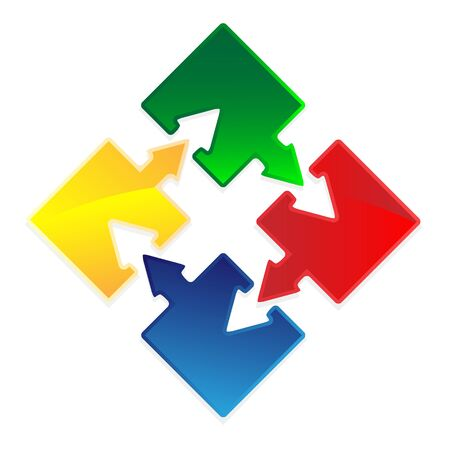 teamwork icon: Set of Puzzles with arrows as success concept image.