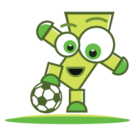 Football (soccer) player character with ball, sport illustration. Vector