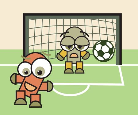 Football (soccer) game match. Happy forwarder and sad goalkeeper cartoon characters with ball illustration.  Vector