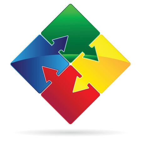 teamwork icon: Set of Puzzles with arrows as teamwork concept vector image. Illustration