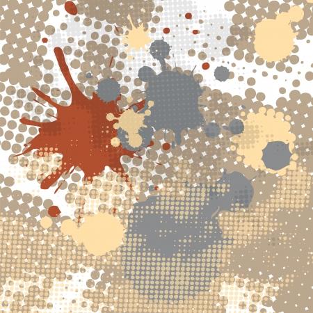 抽象的なハーフトーンと飛び散ったスポット滴グランジ  イラスト・ベクター素材
