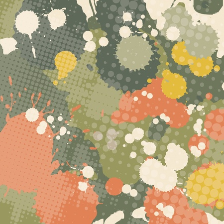 splashed: Splashed grunge halftone transparent abstraction