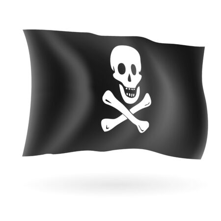 jolly roger pirate flag: Jolly roger pirate flag isolated on white vector illustration.