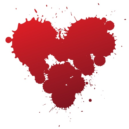 lovestruck: Red splashing blood drops heart symbol, vector illustartion. Illustration