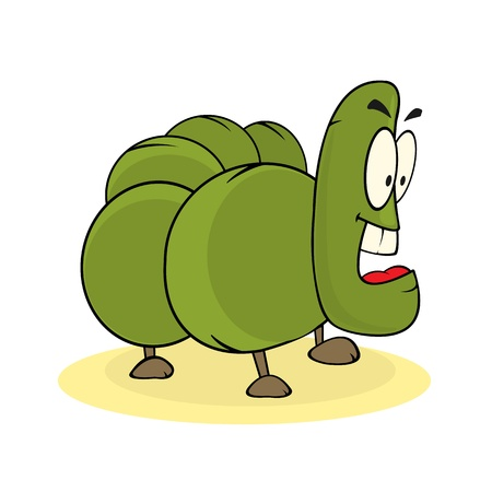 funny hungry cartoon caterpillar  Иллюстрация