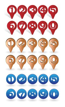 marking: set of icons with digits suitable for GPS or Navigation marking
