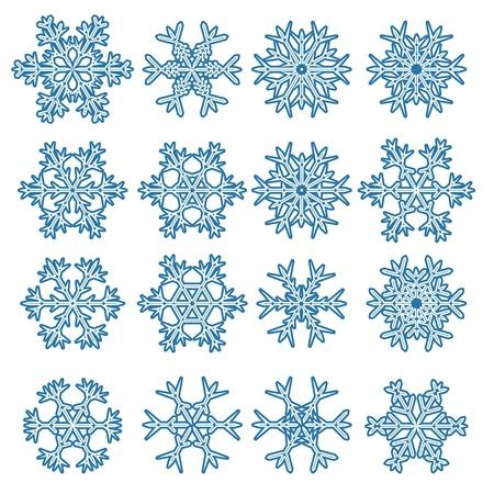 Set von Schneeflocken auf weißem isoliert