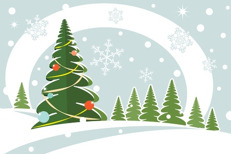 christmas firtree snowy hills snowflake card vector illustration