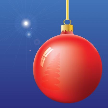 Christmas Eve Stern von Bethlehem und die Kugel mit Weihnachtsbaum und Fenster Reflexion auf blauem Hintergrund. Illustration