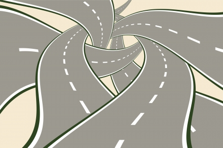 curve road: Tangled Roads Modern Choice Concept vector illustration.