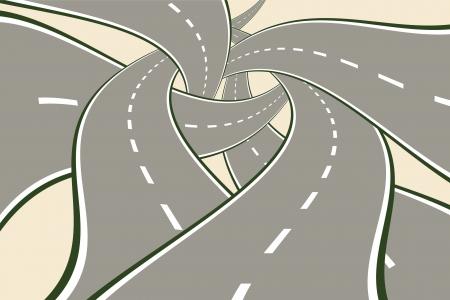 Tangled Roads Moderne Wahl-Konzept Vektor-Illustration.