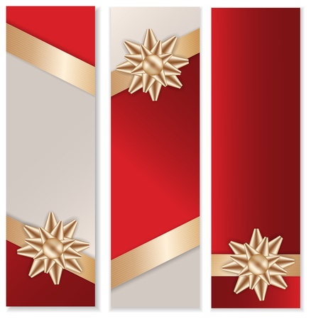 Golden Bow and Ribbon with Red Background Banner Set. Stock Vector - 16583425