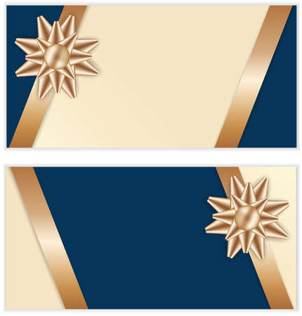 Golden Bow and Ribbon with Blue Background Banners Stock Vector - 16915496