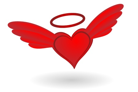 nimbus: Holy Heart with wings and Nimbus vector illustration. Illustration