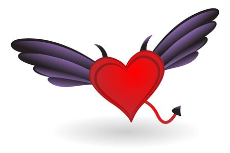 Heart with Horns, Tail and Wings. Stock Vector - 17178343