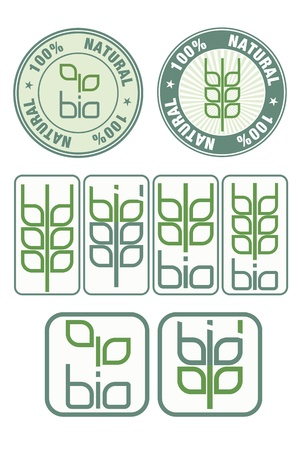 Stamps and icon with bio, leaves and wheat symbol Stock Vector - 17728421