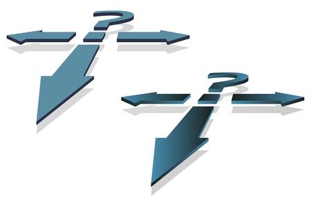 물음표와 의사 결정 포인트 벡터 이미지로 화살표.