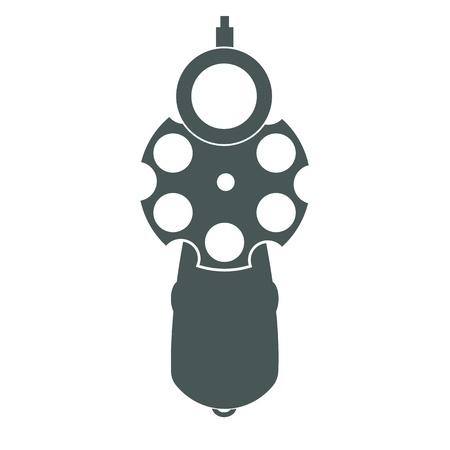 Retro pistol silhouette front view as gun symbol illustration.