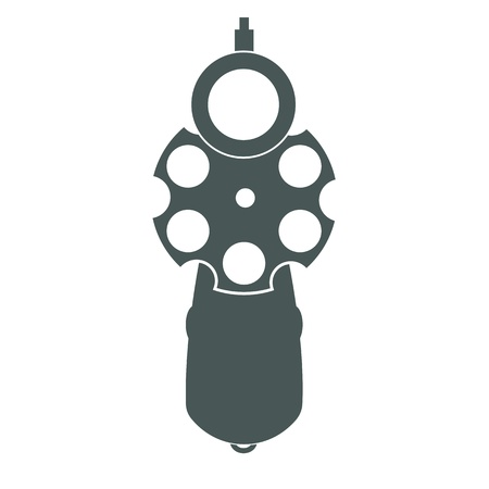 handgun: Retro pistol silhouette front view as gun symbol illustration.