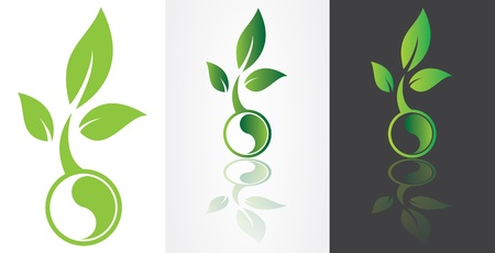 ying yang harmony symbolism with green leaf.  Vector