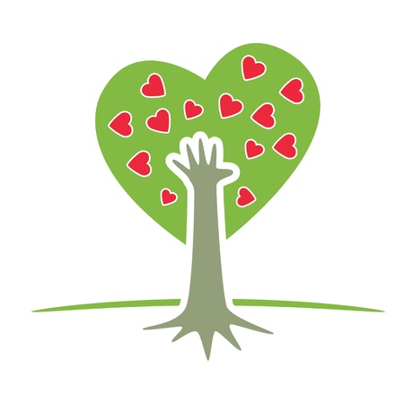 plant hand: Symbolic Tree with Hand and Hearts   Illustration