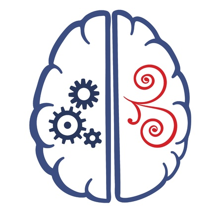 logical: Two parts of human brain symbolic vector image.