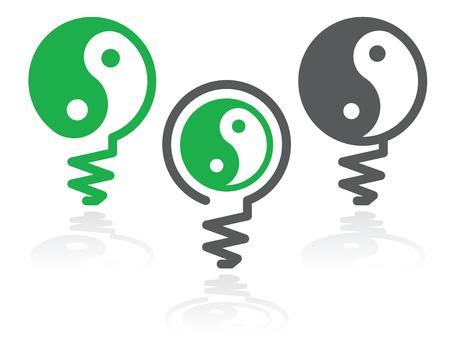 yan: Ying-yang in light bulb as harmony idea symbol illustration