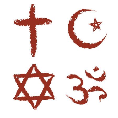キリスト教、イスラム教、ユダヤ教およびヒンズー教の宗教記号ベクトルを描いた設定