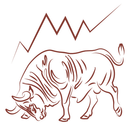 bullish: bull image and bullish stock market trend