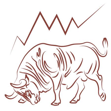 bullish: immagine Toro e tendenza rialzista del mercato azionario Vettoriali