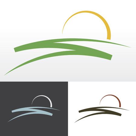 로고, 상징이나 기호에 대한 간단한 일출 디자인. 일러스트