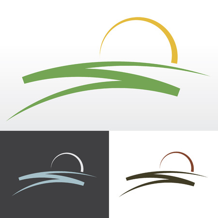 hill: Simple sunrise design for logo, emblem or sign. Illustration