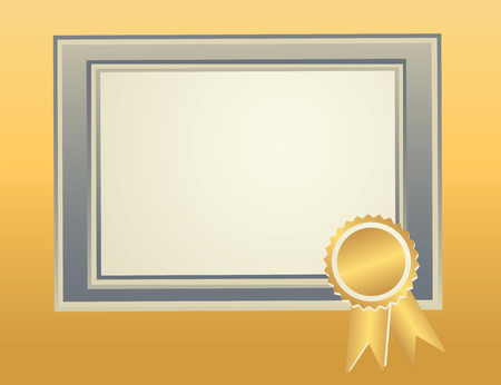 Blank Frame template with award seal for certificate, diploma, awards, completion documents.