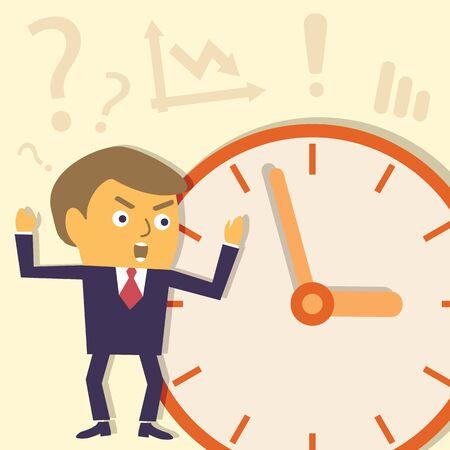 job deadline: Businessman do not get deadline. Contemporary business concept. Vector character illustration. Illustration