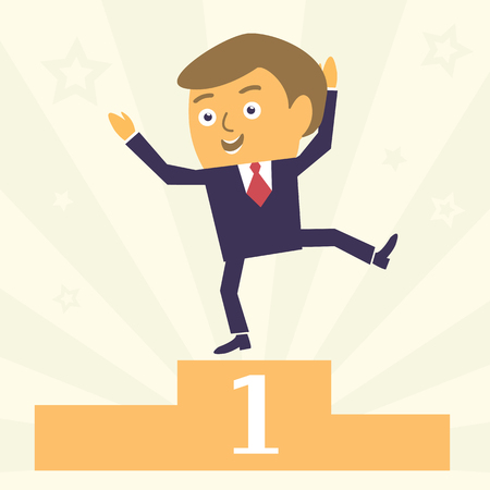 satisfied: Happy and Satisfied Cartoon Businessman character win first place. Modern business concept vector illustration.