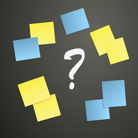 unsure: Sticky notes and Question mark on blackboard as brainstorming concept vector illustration. Illustration