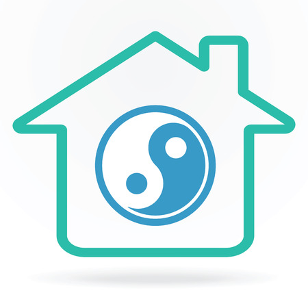 yinyang: House with yin-yang symbol as home harmony concept vector illustration. Illustration