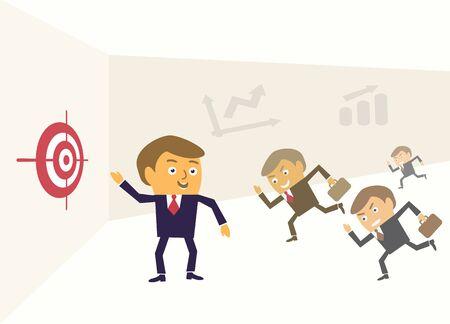 financial success: F�hrer zeigt Ziel finanziellen Erfolg Leistung Konzept Vektor-Illustration.