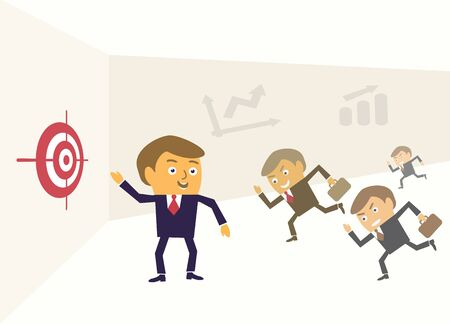 motivating: Leader shows target financial success achievement concept vector illustration. Illustration