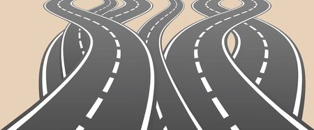 different ways: Roads overcrossing different ways choice vector illustration.